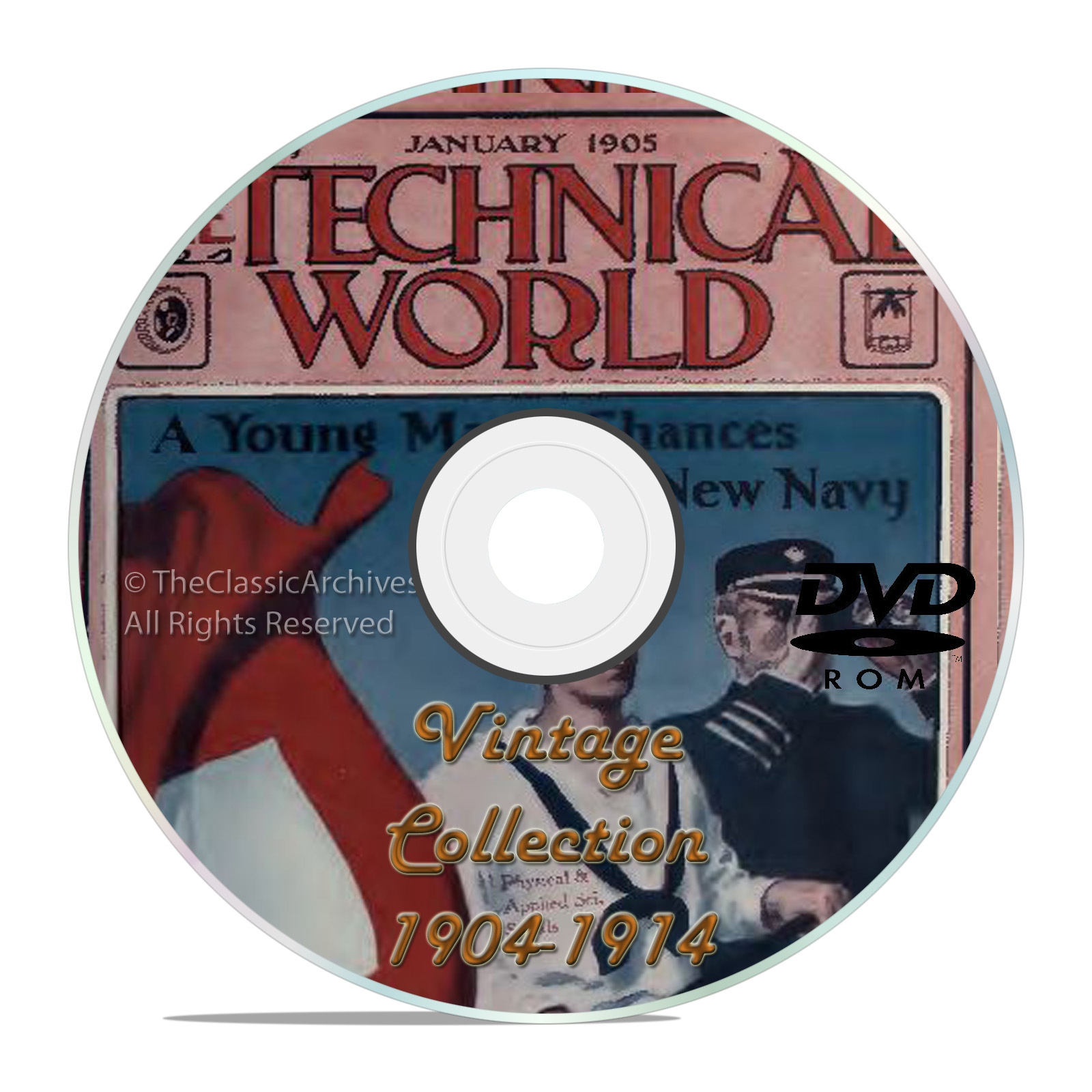 Technical World Magazine, 119 Classic issues, 1904-1915, Old Time Read DVD