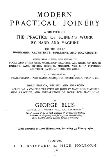 Modern Practical Joinery, 1908, Vintage Woodworking Book Download