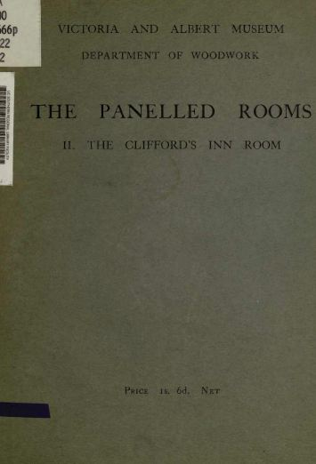 The Panelled Rooms, Cliffords, 1914, Vintage Woodworking Book Download